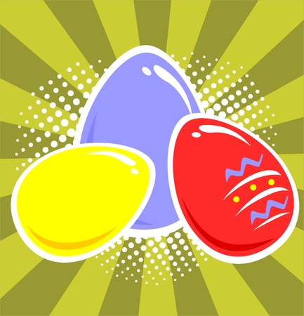 Three Easter eggs on a green striped background. Vector