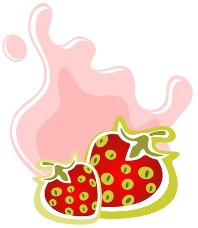 Two cartoon strawberries and milk on a white background. Vector