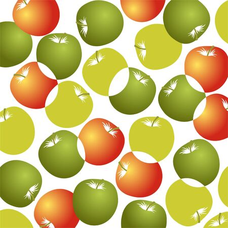 Cartoon green and red apples pattern on a white background. Vector