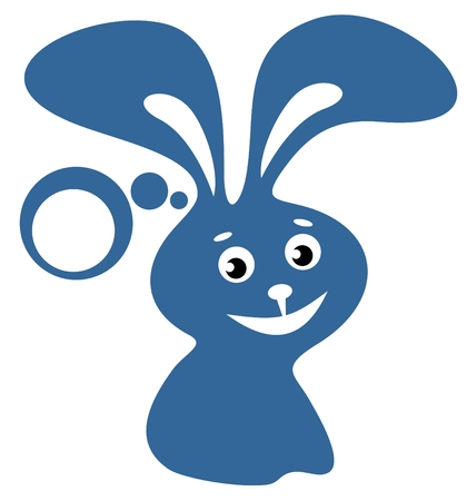 Cartoon  happy rabbit isolated on a white background. Vector