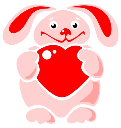 Happy cartoon rabbit with heart on a blue background. Vector