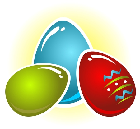 Easter eggs set isolated on a white background. Vector