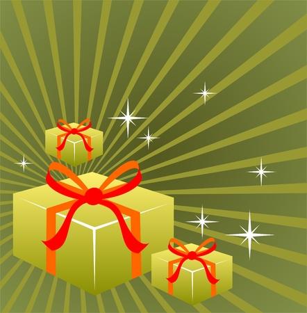 three gift boxes: Tres cajas de regalo en un fondo de rayas verdes. Vectores