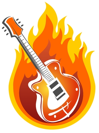 Stylized electric guitar and fire on a white background.