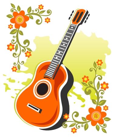 様式化されたアコースティック ギターと白い背景の上の花です。  イラスト・ベクター素材