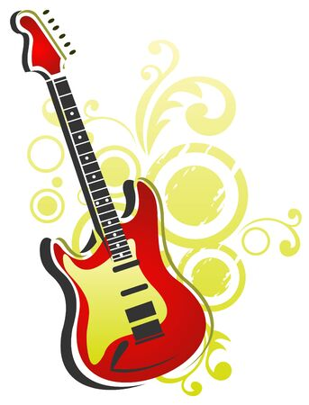 Stylized electric guitar isolated on a white background. Vector