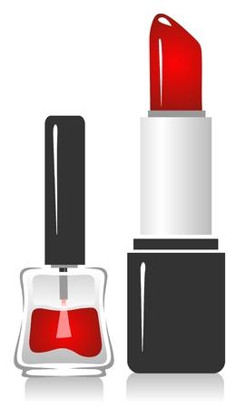 Lápiz labial y esmalte de uñas aislado en un fondo blanco.