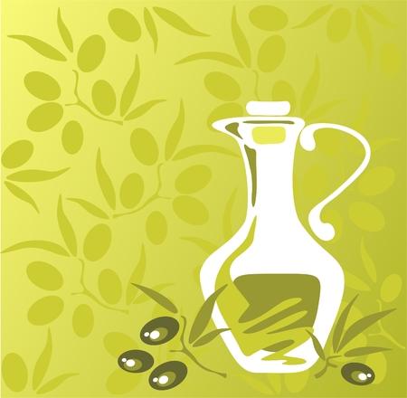 様式化されたオリーブとオリーブ オイルの瓶、緑色の背景で。  イラスト・ベクター素材