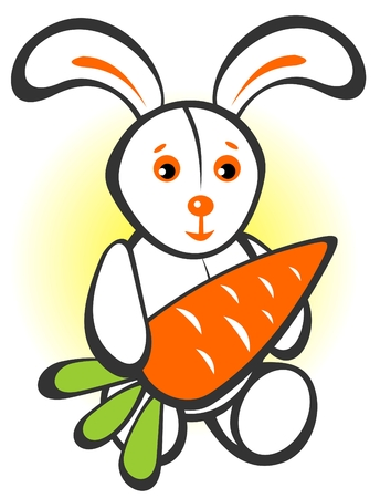 frisky: Cartoon  happy rabbit with carrot isolated on a white background.