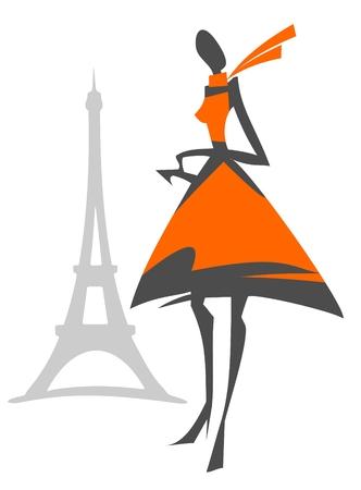 Sexy Mädchen auf dem Hintergrund der Tour d'Eiffel Silhouette. Vektorgrafik