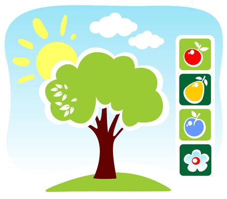 Cartoon tree and fruit set on a blue sky background. Vector
