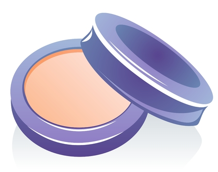 to conceal: Cosmetic powder compact isolated on a white background.