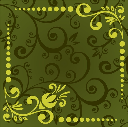 Abstract  pattern with flower border on a green background. Vector