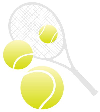 racket: Tennis racket and three balls  isolated on a white background.