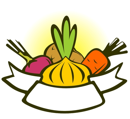 Caricatura hortalizas conjunto con cinta sobre un fondo blanco. Foto de archivo - 4644667