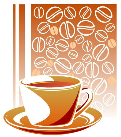 Stylized coffee cup on a coffee beans background. Vector