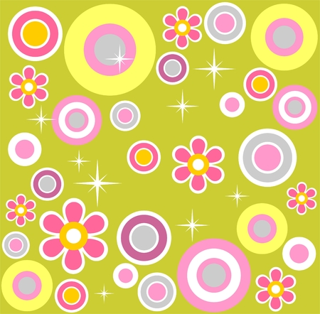 Abstract pattern with circles and flowers on a green background. Vector