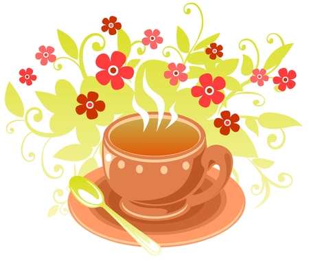 Stylized tea cup with  flowers isolated on a white background. Illustration