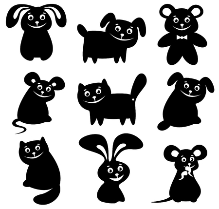 Cartoon happy animals set  isolated on a white background. Vector