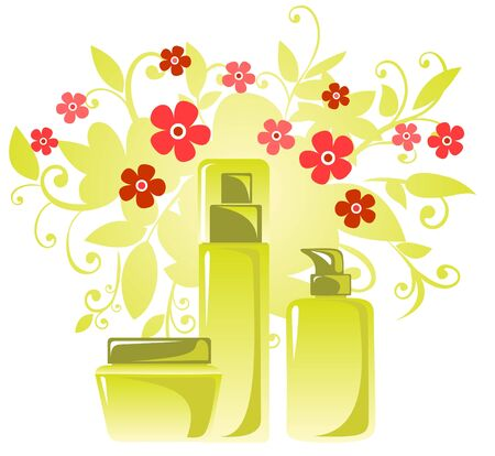 Cosmetic tubes and flowers on a white background. Stock Vector - 4709376