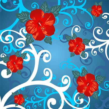 Abstract  pattern with curves and flowers on a blue background. Vector