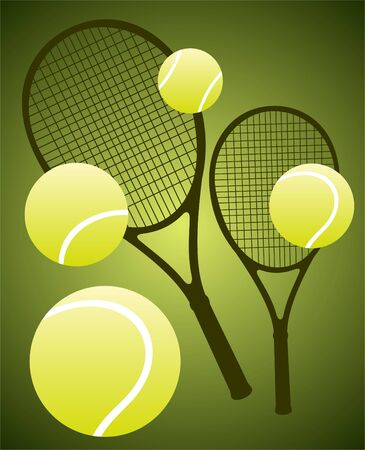 racket: Tennis rackets and  balls  isolated on a green background.
