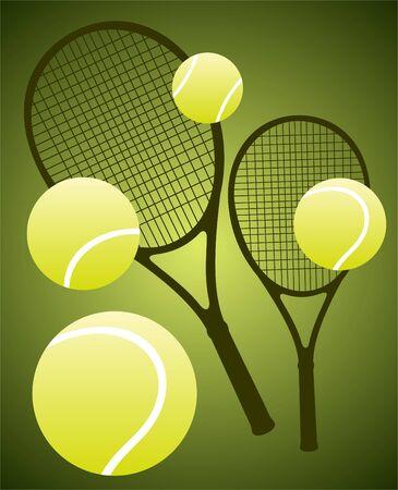 Tennisschläger und Bälle isoliert auf einem grünen Hintergrund.