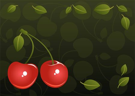Two stylized cherries on a dark green background. Stock Photo - 4709345