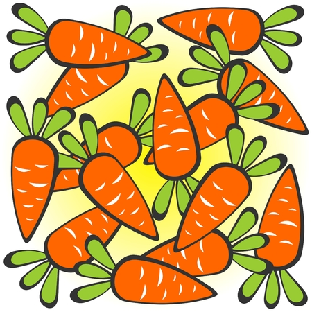 conceptual image: Cartoon carrots pattern on a white background. Illustration