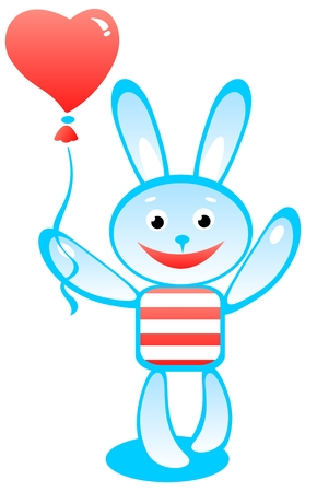 Cartoon rabbit and heart on a white background. Vector