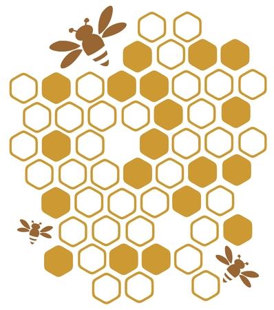 Estilizado abejas y miel sobre un fondo blanco.