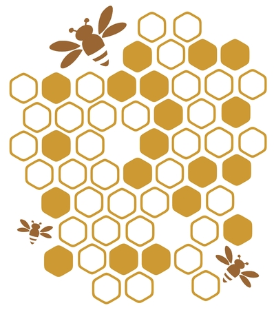 honeycombs: Stylized bees and honey on a white background. Illustration