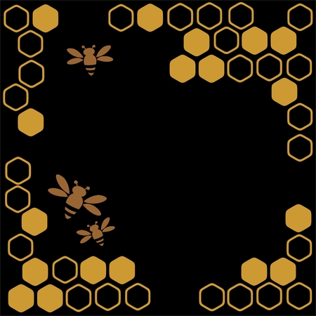 Stylized bees and honey on a black background. Vector