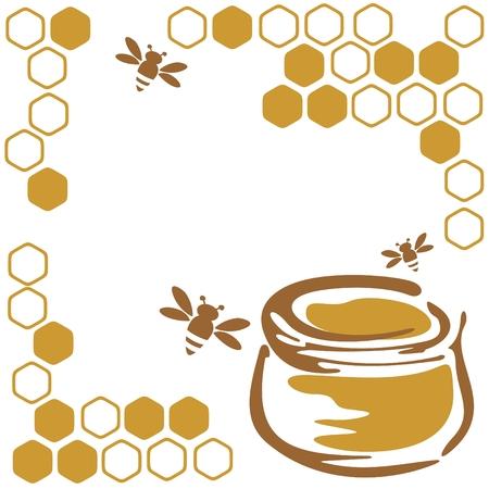 abejas panal: Miel de abejas y estilizada sobre un fondo blanco.