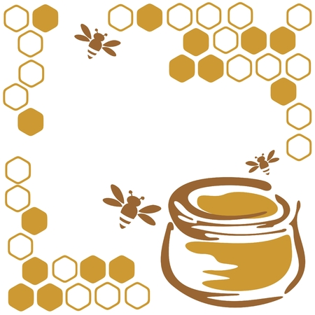miel et abeilles: Stylis�es des abeilles et du miel sur un fond blanc.