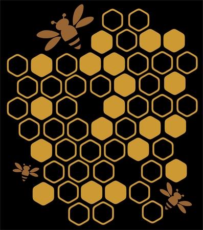 様式化された蜂や蜂蜜、黒の背景に。