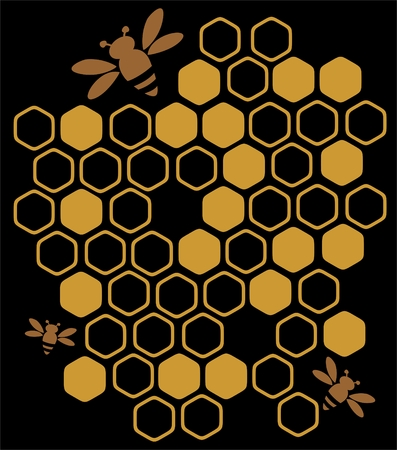 Stylized bees and honey on a black background.
