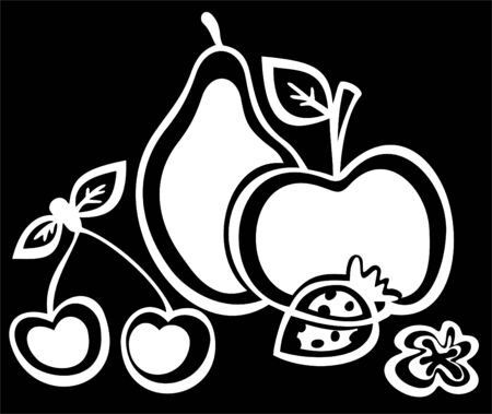 Stylized white fruit silhouettes  on a black background. Vector