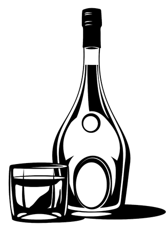 Whiskey bottle and glass isolated on a white background.