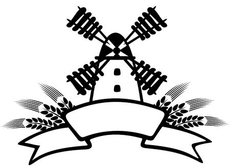 wheaten: Cartoon windmill and wheaten ears on a sky background. Illustration