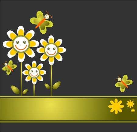 Pattern with cartoon  flowers on a black background. Stock Vector - 4861640