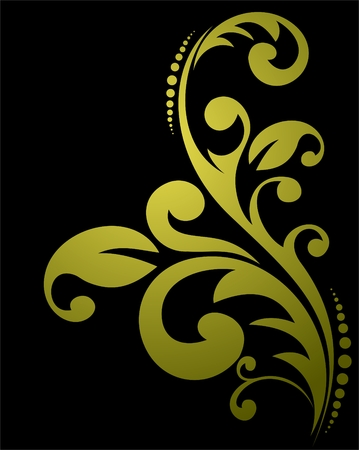 Stylized floral pattern isolated on a black background. Stock Vector - 4861633