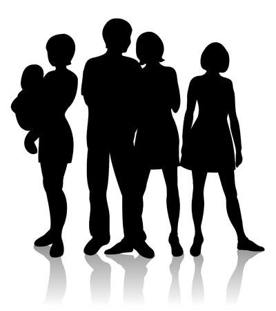 Mädchen- und Jungenschattenbilder lokalisiert auf einem weißen Hintergrund.