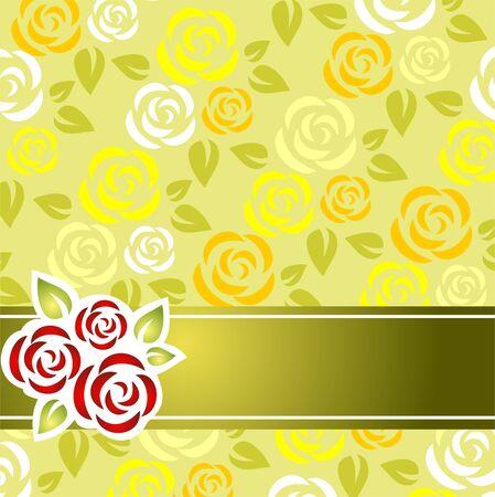 rosas amarillas: Rosas estilizado modelo con una franja verde sobre fondo verde.
