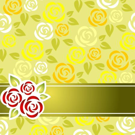 yellow rose: Stylized roses pattern with green strip on a green background.