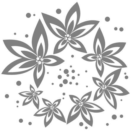 gray pattern: Stylized gray flowers pattern on a white background. Illustration