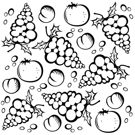 Stylized grape and peach silhouettes on a white background. Vector