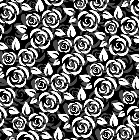 黒い背景に白い様式化されたばらのパターン。