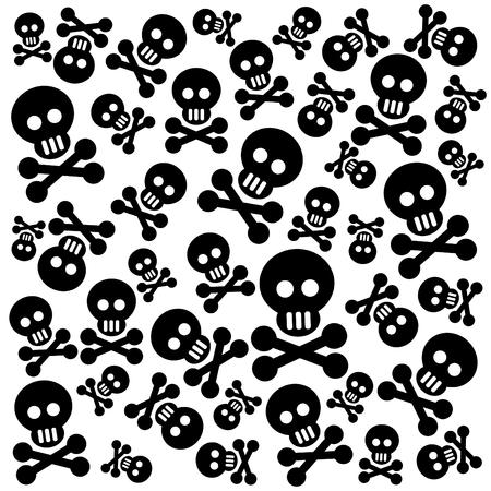 emo: Grunge patroon met schedels en beenderen op een zwarte achtergrond. Stock Illustratie