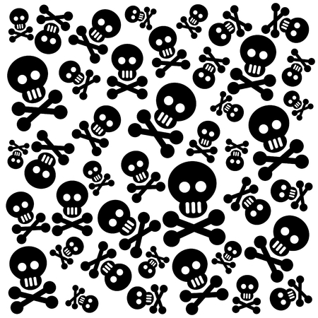 Grunge pattern with skulls and bones on a black background.